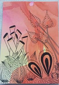 watercolor and zentangle