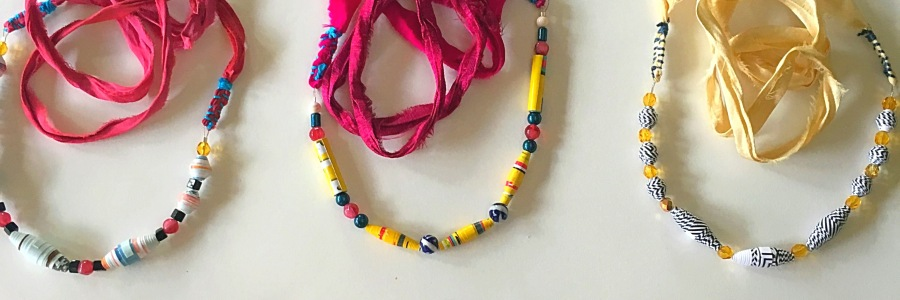 Paper bead necklaces with sari silk