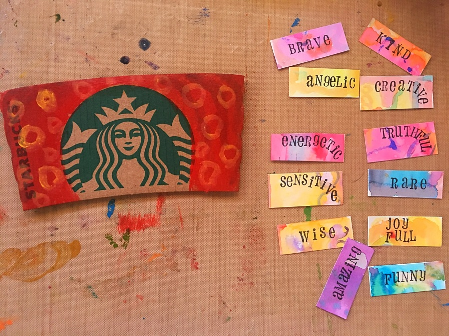 Coffee cup sleeve affirmation mobile