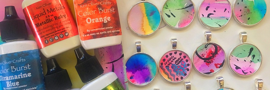 Resin and watercolor jewelry