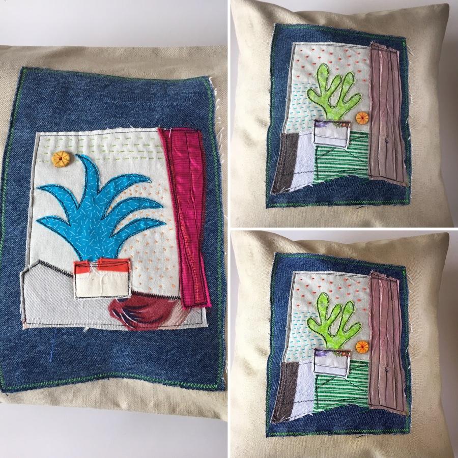 collaged desert plants pillow cases