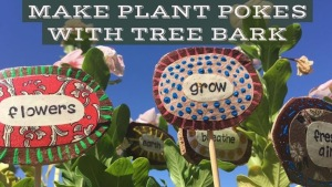 Plant stakes made with palm tree bark