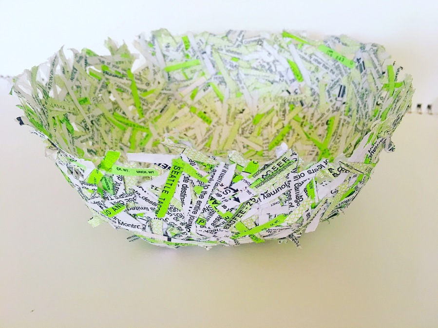 Shredded paper bowl