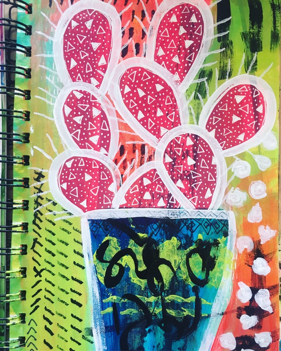 cactus in my art journal